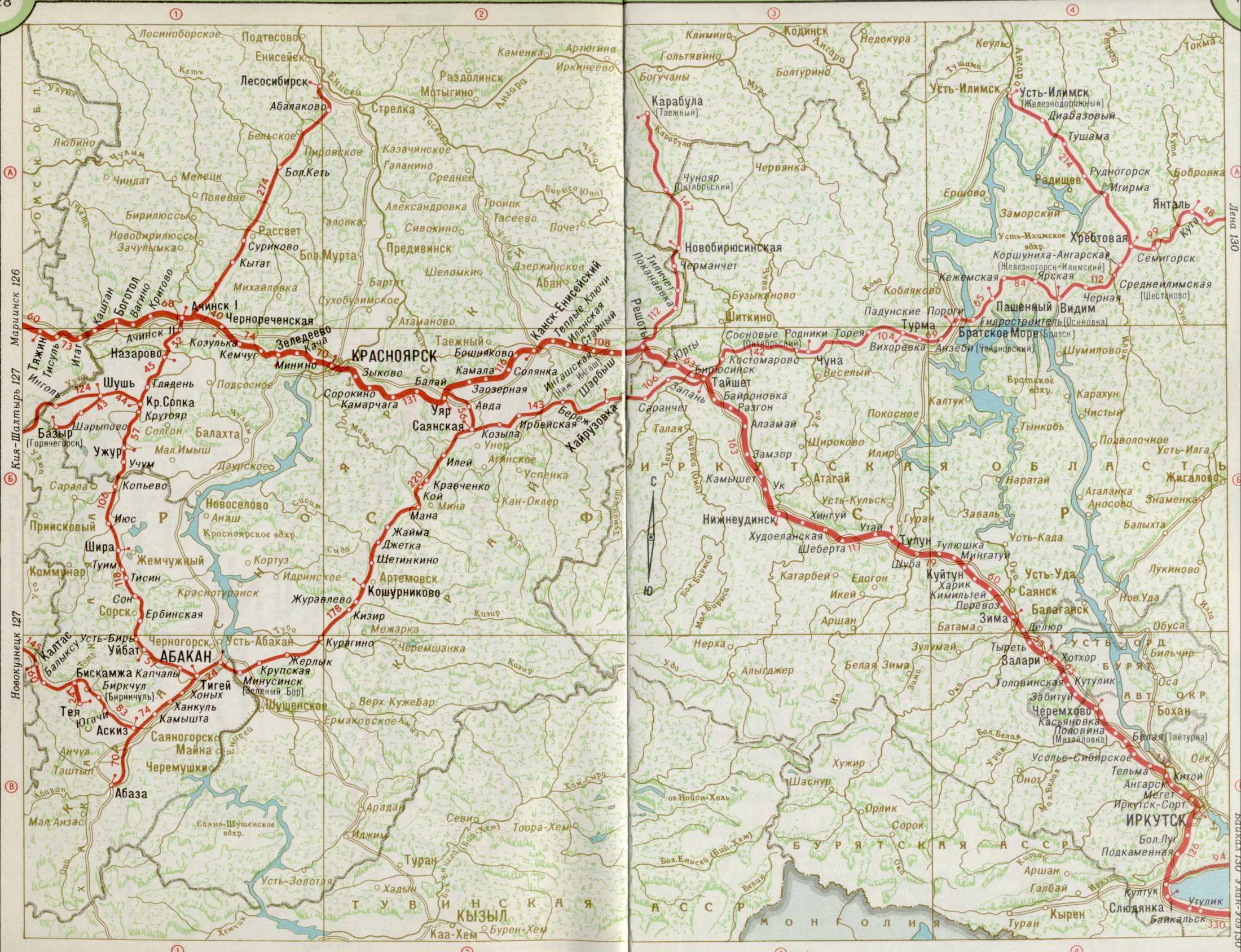 Карта железных дорог красноярского