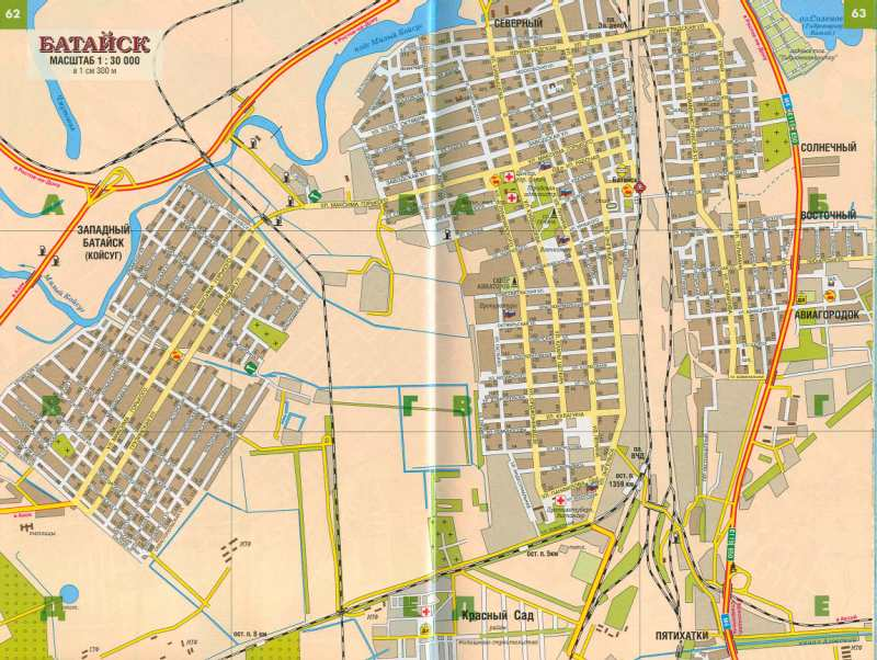 Карта Батайска. Подробная