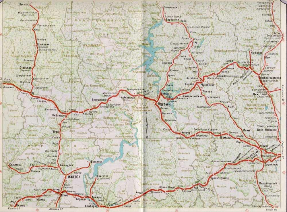Карта жд город Пермь,