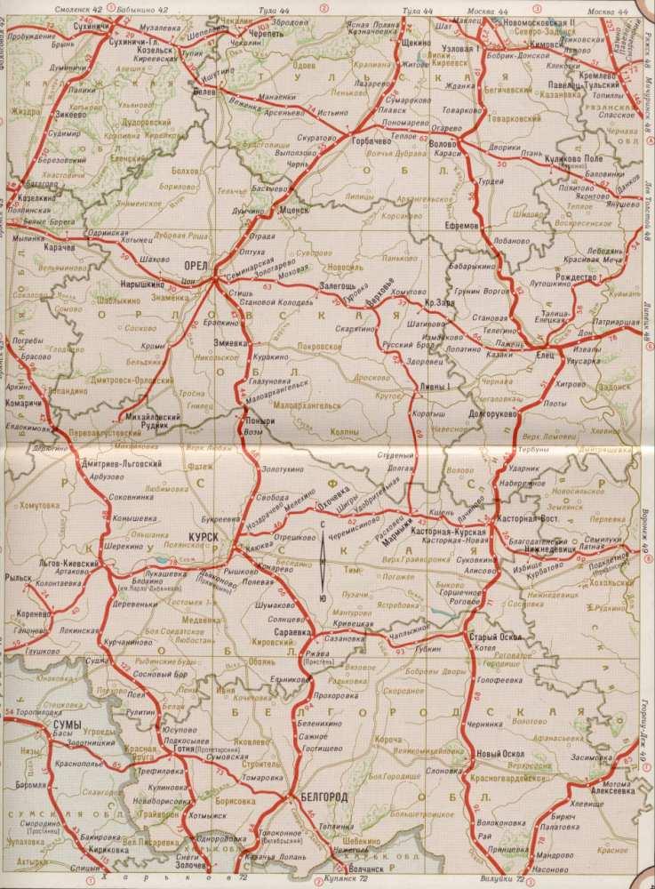 Карта железных дорог Орловской