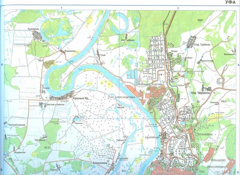 Карта города Уфа. Большая