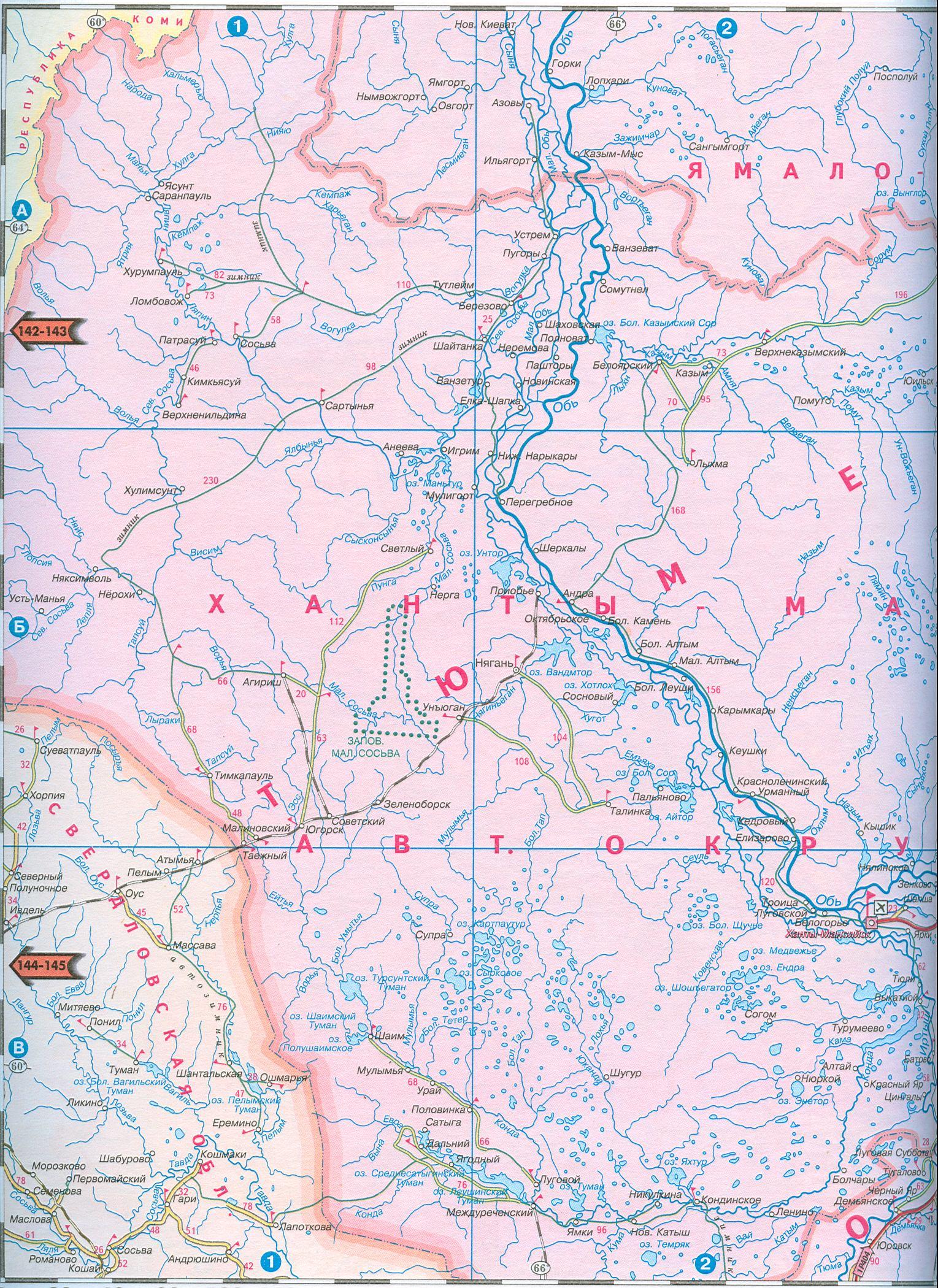 Карта автодорог ямало ненецкого