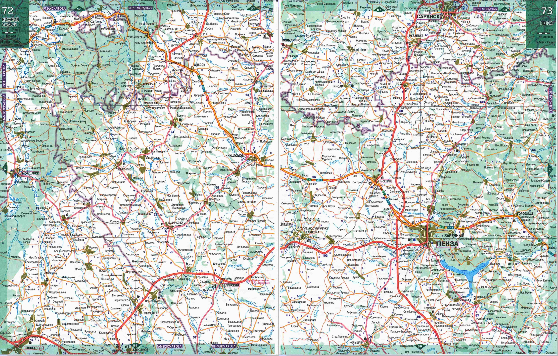 Карта Мордовии и Пензенской области. Подробная карта - Мордовия и ...